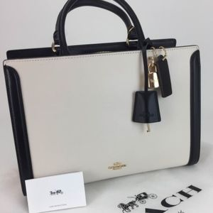 Coach Zoe Carryall Chalk, Black & Gold - Luxe Line